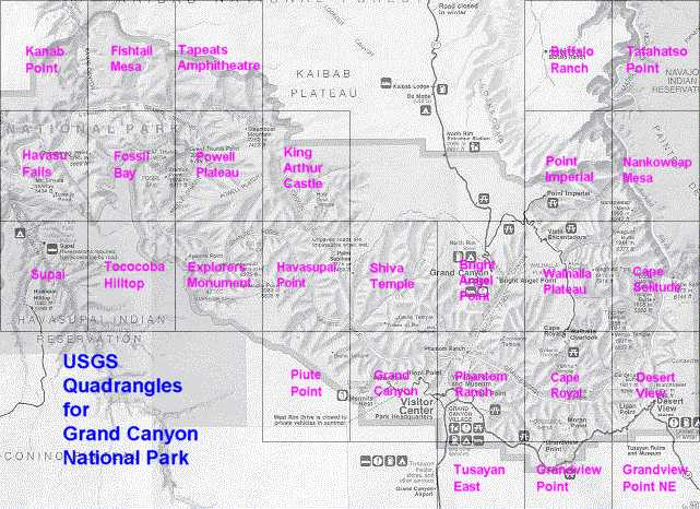 Some popular usgs quads for grand canyon national park usgs grand canyon quad index sciox Choice Image